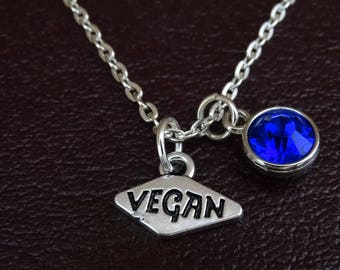 Vegan Necklace, Vegan Charm, Vegan Pendant, Vegan Jewelry, Vegetarian Necklace, Vegetarian Jewelry, Vegetarian Charm, Animal lover, Vegan