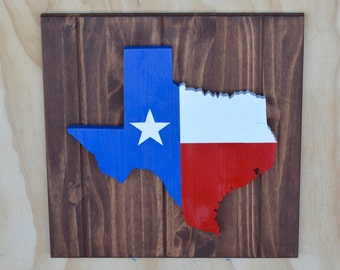 Texas State Flag Painted Wood Plaque Cutout