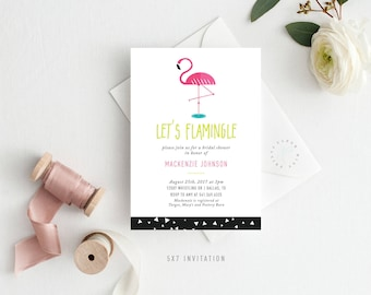 Printable Bridal Shower invitation | Let's Flamingle, Flamingo, Neon, Fun, Birthday, Baby Shower