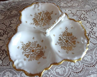 French Porcelain Hand Painted Gold Floral Divided Dish with Handle and Gold Trim, Divided Nut Dish Made in France
