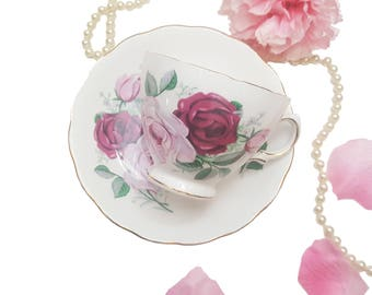 Royal Vale Teacup with Pink Roses, Pink Floral Tea Cup, Shabby Chic, Housewarming Gift