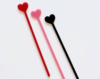 Heart Stir Stick - Heart Drink Stirrer
