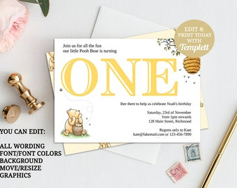 Winnie The Pooh Invitation, Classic Pooh Invitation, Winnie First Birthday Invitation, Pooh 1st Birthday, Classic Pooh, INSTANT DOWNLOAD