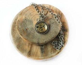 Steampunk watch necklace, Watch parts pendant, Clock pendant necklace, Silver resin pendant, Steampunk clock gear necklace, Watch lover gift