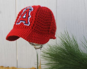 Baby Baseball Hat, Kids Ball Cap, BABY baseball gifts, Anahiem ANGELS inspired (Handmade by me and not affiliated with the MLB)