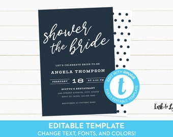 Navy and White Bridal Shower - Customizable Bridal Shower Invitation - Templett Bridal Shower Invitation - Printable Invitation