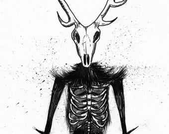 Wendigo Art Print, Ink Illustration, Horror, Demon, Stag Skull