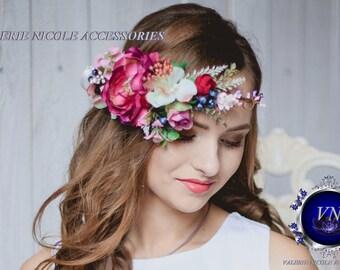 Flower crown Bridal flower crown Wedding flower crown Floral crown  Pink Purple flower crown Flower hair wreath
