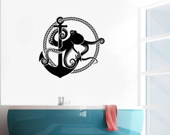 Octopus Vinyl Wall Decal Anchor Rope Nautical Marine Art Decor Stickers Mural (#2558di)