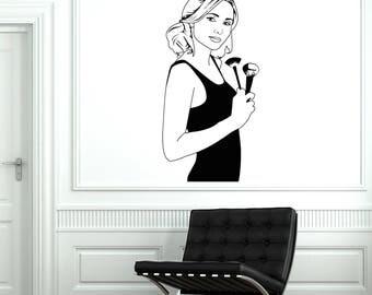 Makeup Artist Vinyl Wall Decal Beauty Salon Stylist Woman Cosmetics Stickers Mural  (#2611di)