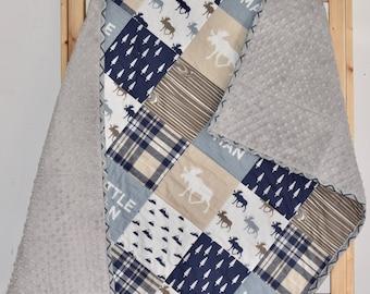 Little Man Crib Quilt, Toddler quilt, Minky Quilt, Adventure, moose, deer, pine tree, birches, plaid, lumberjack