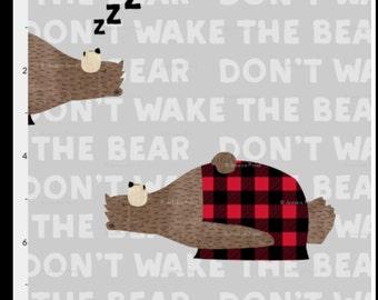 Don't Wake the Bear Bedding, buffalo plaid, red and black, hunting, baby boy, lumberjack, woodland nursery
