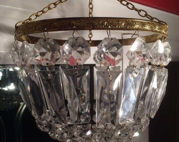 Crystal Chandelier, French Mid Century Rectangular & Octagonal Faceted Crystals, 20 Strands, 5 Crystals Each, Excellent Condition