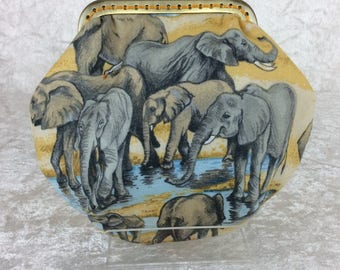 Amy Elephants  fabric frame coin purse wallet hand stitched handmade in England