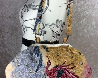Peacock Betty frame handbag purse Alexander Henry Indochine Kujaku Peacock fabric bag handmade in England