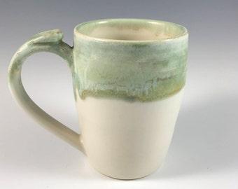 Stoneware Mugs,Seafoam 14 oz White and Green Mug, Ceramic Coffee Cup, Ceramic Tea Cup, Ceramics and Pottery, Stoneware Cup, Coffee Cup,
