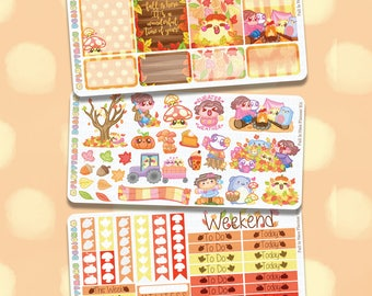 Fall Is Here Planner Kit || Planner Stickers, Cute Stickers for Erin Condren (ECLP), Filofax, Kikki K, Etc. || PKS08