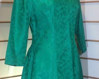 DeadStock Brand New Mad Men Green Satin/Brocade 1960S Asian Inspired Cheongsam Matching Dress and Coat Set S/XS