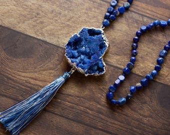 Druzy Pendant and Tassel Necklace, Druzy Necklace, Lapis Necklace, Blue Necklace, Long Necklace, Women's Necklace, Boho Necklace