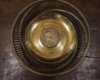 Vintage Korean Solid Brass Bowl with Koi Fish/ Goldfish Design/ Wedding Decor/ Mixed Metals Wedding decor/ Basket Edge