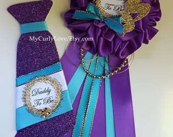 Mermaid Baby Shower Mommy to be Corsage/Purple and Turquoise Mermaid Baby Shower Mommy to be Corsage/Purple and Turquoise Mermaid Pin