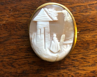 Vintage Carved Helmet Shell Cameo
