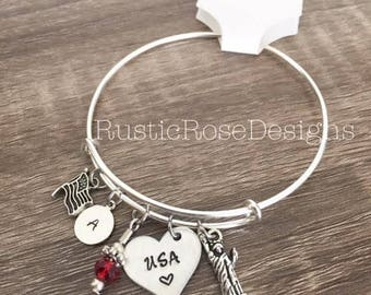 USA bangle bracelet / American flag charm bracelet / Statue of Liberty charm / initial bracelet / Bangle charms / Fourth of July / NYC