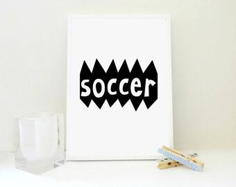 Soccer Printable Print, Boy Room Wall Art, Nursery Decor, Gift for Boys, Gift for Athlete, Playroom Decor, Art Print, Gift for Men, PDF