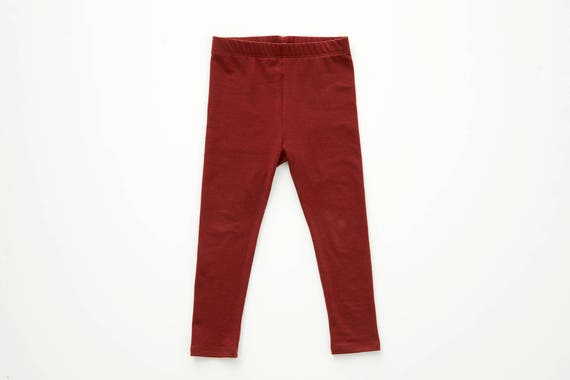 IRIS - plain long legging for kids: girls & boys - paprika red
