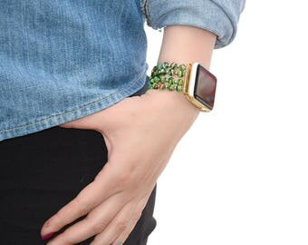 Lampwork Glass Beads apple watch band 38mm / 42mm // apple watch accessories - apple watch strap - iwatch band - lugs adapter - no-clasp
