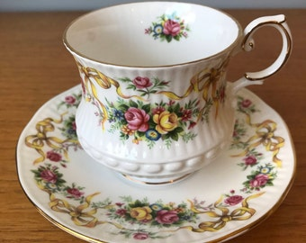 Queens Rosina China Tea Cup and Saucer, Roses and Ribbon Bows Teacup and Saucer, Bone China, Vintage