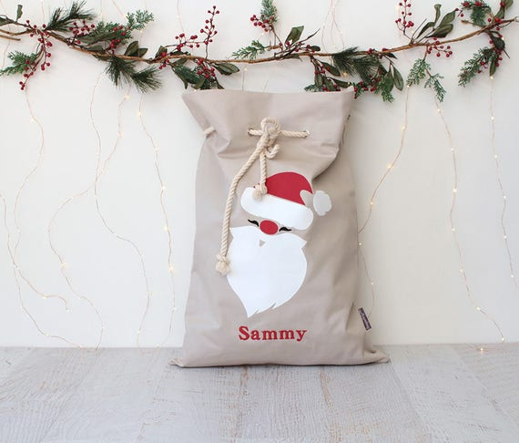 Personalised Santa Sack Natural - Santa face