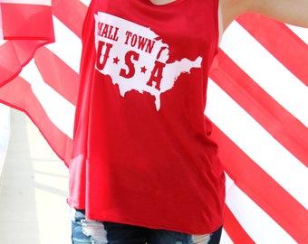American Flag Shirt Women - Small Town USA - America Tank Top - 4th of July Tank - Merica Shirt - USA Shirt - Summer Tank - American Flag -
