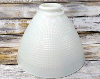 "Vintage 8"" Corning 820120 Torchiere Diffuser Lamp Shade Waffle White Milk Glass"