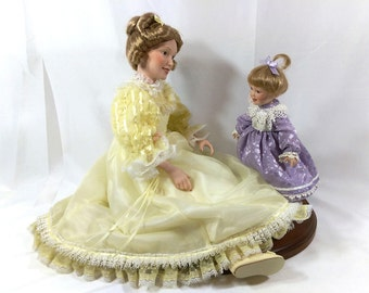 Danbury Mint Porcelain Dolls - First Steps - Mother and Daughter
