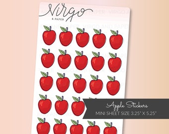 Mini Red Apple Planner Stickers - Hand Drawn Apple Stickers - School, Teacher Planner Stickers - Matte or Glossy Stickers MAP