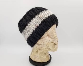 Hand Knit Headband, Ear Warmer, Winter Accessory, Gift For Women, Winter Headband, Head Warmer, Striped Headband, Black Headband
