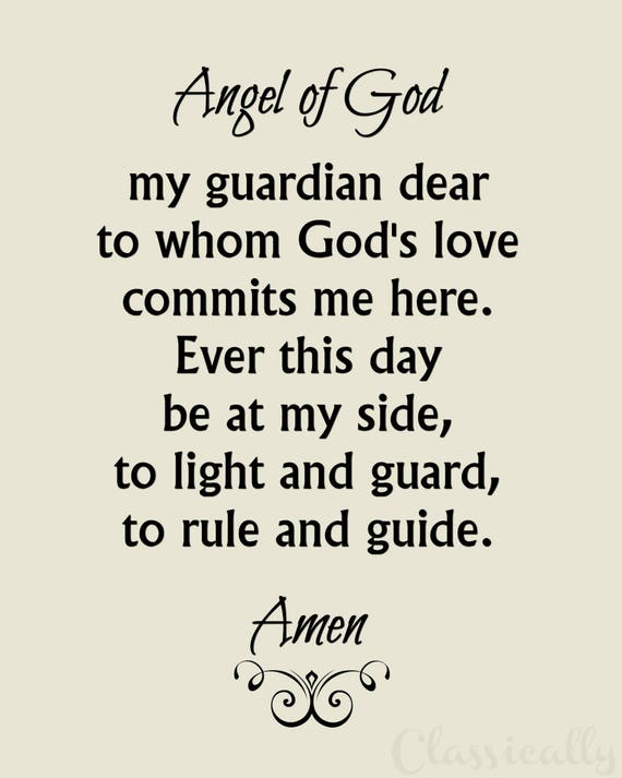 Guardian Angel Prayer Printable Download of 8x10 Catholic Angel of God Prayer