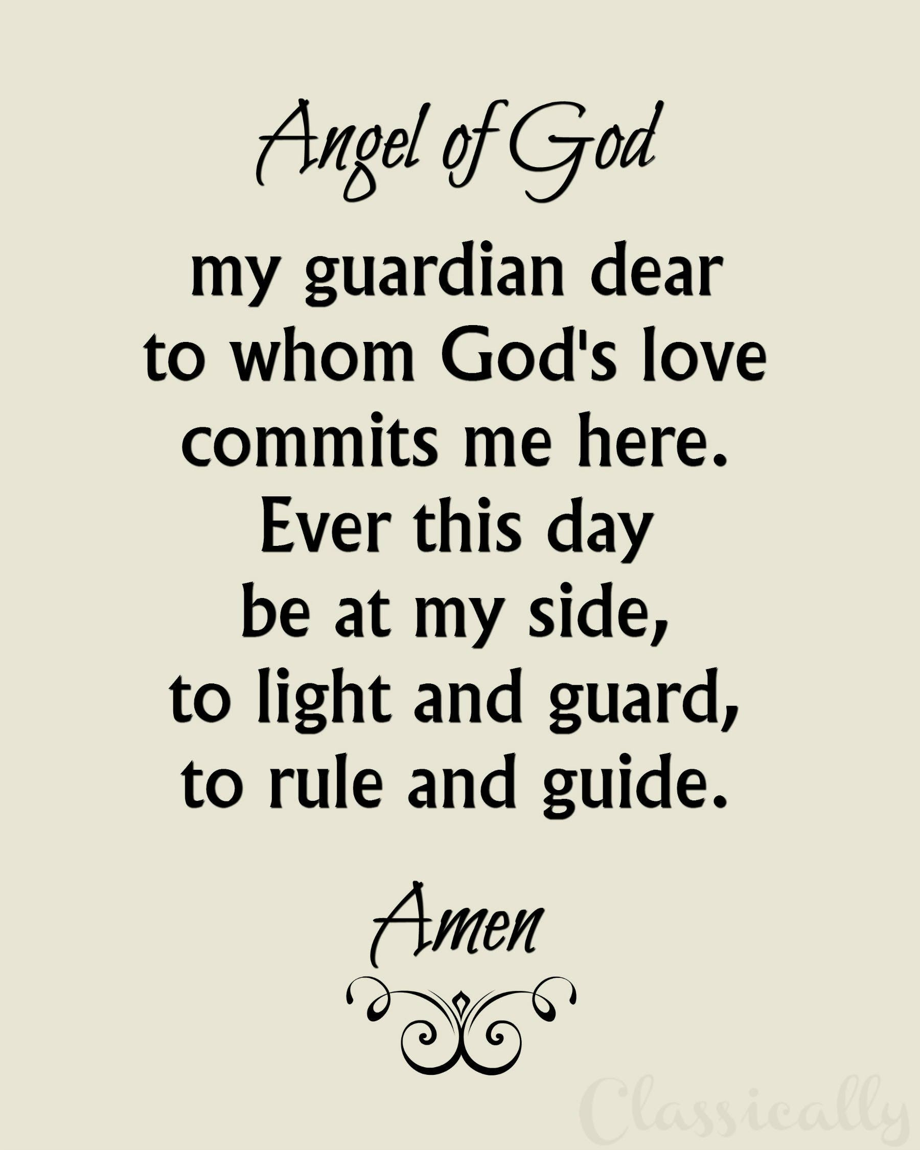 Hilaire image in guardian angel prayer printable