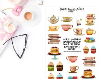 Tea and Cake Planner Stickers | Tea Party Stickers | Tea Stickers | Alice in Wonderland | Cake Stickers | Books Stickers (S-312)