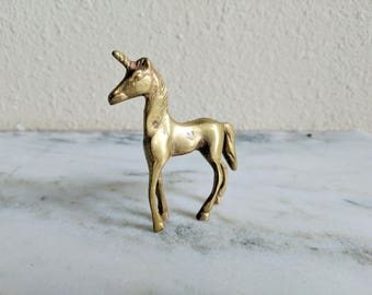 Vintage Brass Baby Unicorn Figurine, Solid Brass Small Unicorn Foal Figure, Gold Mythological Fantasy Animal Statue, Pocket Pal