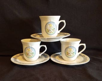 PRECIOUS MOMENTS CUP Saucer Mugs Set lot of 3 Girl Goose Frog Blue Trim Tea Party Vintage