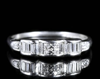 Antique Platinum Diamond Wedding Band Art Deco Ring