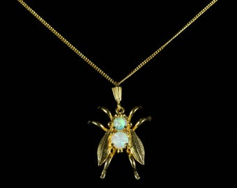 Opal Insect Bug Pendant Necklace 18ct Gold Silver