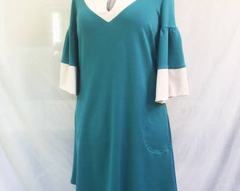 Emerald green and beige Milano jersey dress - two tones jersey dress - milano jersey tunic dress - Hand made - Made in France