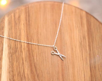 Scissor Sterling Silver Necklace - Silver Necklace, hairdresser Necklace, Scissor Necklace, Delicate Necklace