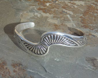 Teme ~ Navajo Southwestern Sterling Silver Unique S Shaped Overlay Cuff Bracelet - 28 Grams