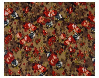 """Sewing Crafts Accessories, Beige Fabric, Floral Print, Dressmaking Fabric, 48"""" Inch Cotton Fabric By The Yard ZBC8038A"""
