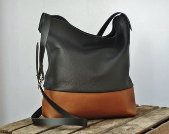 Leather crossbody bag, real leather shoulder bag , leather handbag, cross body purse, leather purse, vintage leather