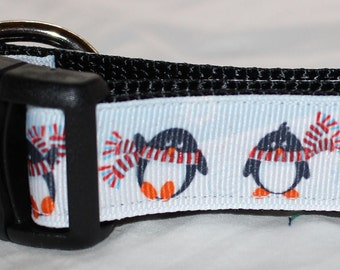 "1"" Winter Penguin Dog Collar - Side Release Buckle"